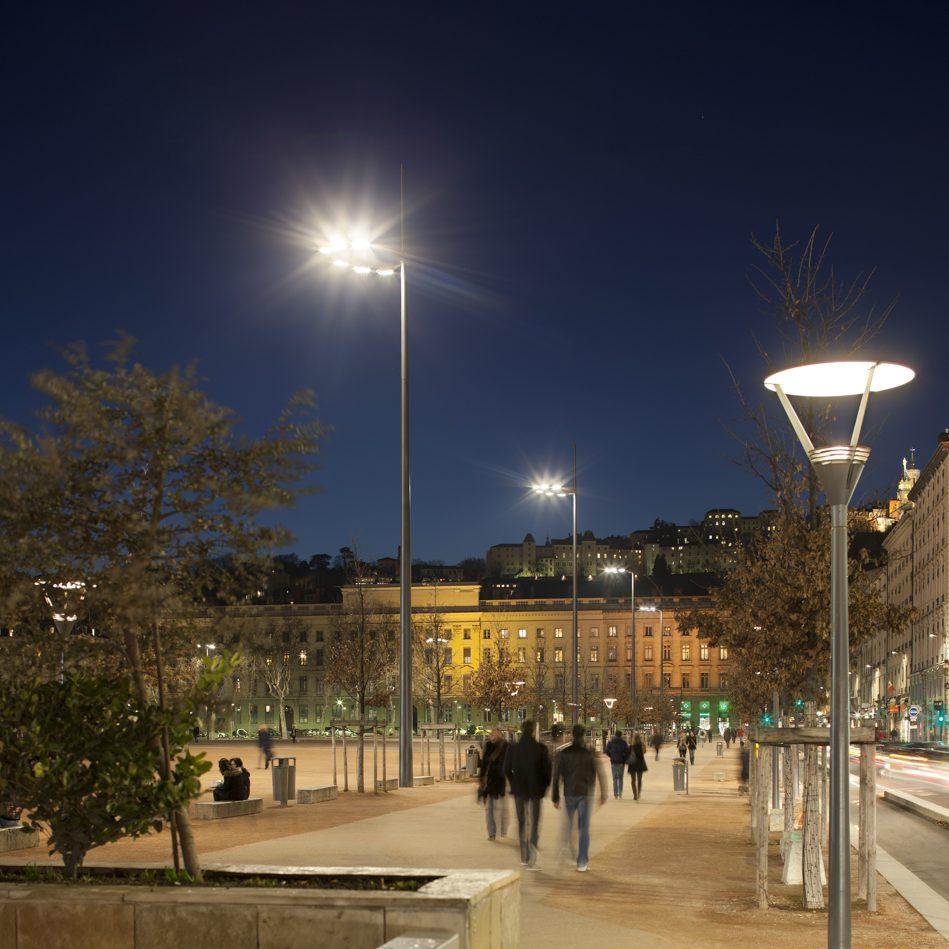 Eclairage de la place Bellecour à Lyon