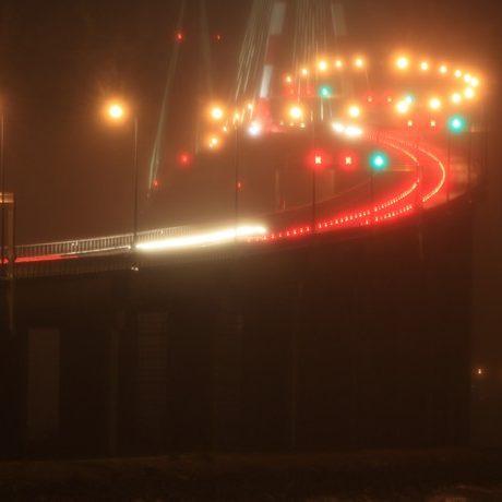 Pont de St Nazaire de nuit télégéré par contrôleurs Citylone